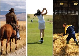 Horseback rider, golfer and farm worker exercising